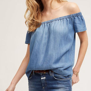 Cloth & Stone Chambray Off Shoulder Top